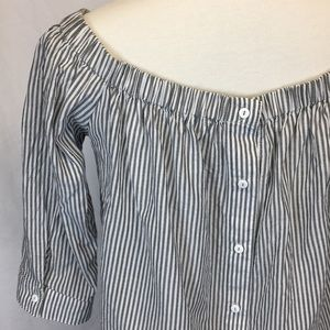 14th&UNION Gray White Stripe Off Shoulder Top Sz.M